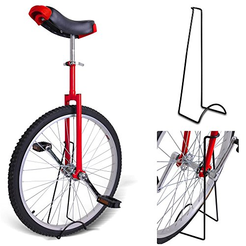 20-Inches-Wheel-Skid-Proof-Tread-Pattern-Unicycle-W-Stand-Uni-Cycle-Bike-Cycling-RED-0