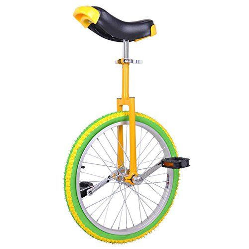 20-in-Colorized-Wheel-Uni-Cycle-Skidproof-Unicycle-w-Stand-Cycling-Yellow-Green-0