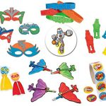 221-Pc-Superhero-Party-Favor-Supply-Pack-24-Foam-Masks-24-Rubber-Bracelets-24-Stretchy-Flying-Heroes-24-Gliders-24-Swirl-Lollipops-100-Stickers-and-an-Armored-Super-Hero-pin-back-button-0