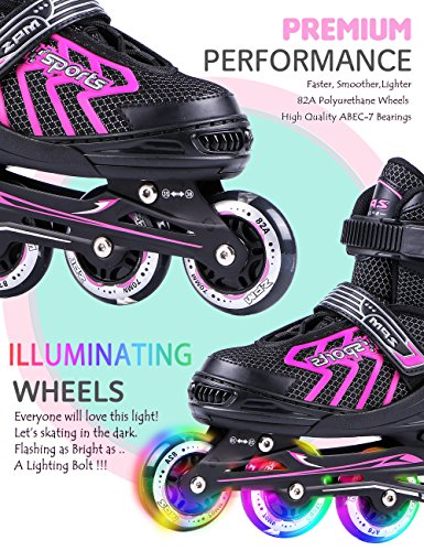 2pm-Sports-Brice-Pink-Adjustable-Illuminating-Inline-Skates-with-Full-Light-Up-LED-Wheels-Fun-Flashing-Rollerblades-for-Girls-0-1