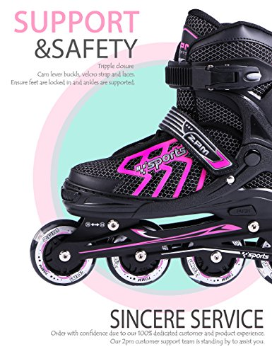 2pm-Sports-Brice-Pink-Adjustable-Illuminating-Inline-Skates-with-Full-Light-Up-LED-Wheels-Fun-Flashing-Rollerblades-for-Girls-0-2