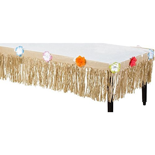 Amscan-Hawaiian-Luau-Natural-Mini-Grass-Table-Skirt-with-Tropical-Hibiscus-Flower-Lining-Brown-175-x-9-0-0