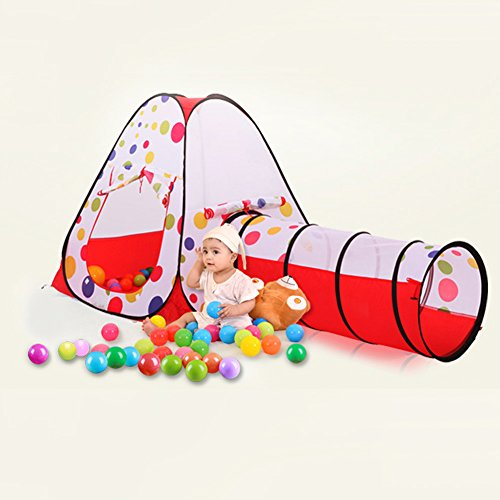 Awakingdemi-Pool-Tube-Teepee-3pc-Pop-up-Play-Tent-ChildrenTunnel-Kids-Play-House-0-1