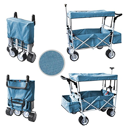 Blue Free Ice Cooler Push And Pull Handle Folding Baby