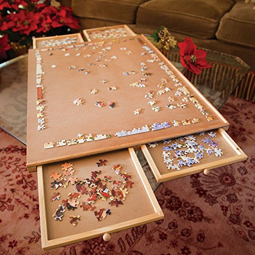Bits-and-Pieces-Jumbo-Size-Wooden-Puzzle-Plateau-Smooth-Fiberboard-Work-Surface-Four-Sliding-Drawers-Complete-This-Puzzle-Storage-System-0