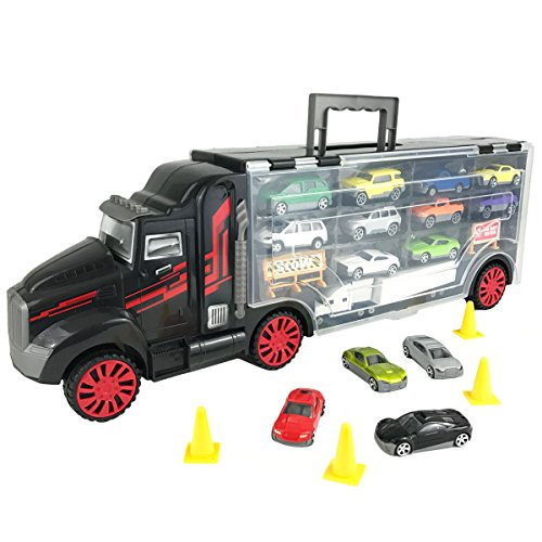 Boley Truck Carrier Toy U2013 Big Rig Hauler Truck With 14 Die Cast Cars And 28  Slots For Car Toys, Great Toy For Boys And Girls!
