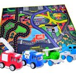 CARLORBO-4-Play-Vehicles-with-Large-Playmat-Set-Die-Cast-Pull-Back-and-Friction-Powered-Toys-with-a-5939in-My-Town-Play-MatBest-Christmas-Gift-Toddler-Toys-for-2-year-old-Boys-Girls-0