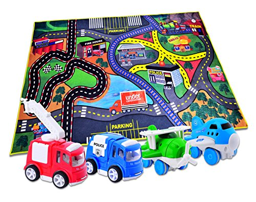 Carlorbo 4 Play Vehicles With Large Playmat Set Die Cast
