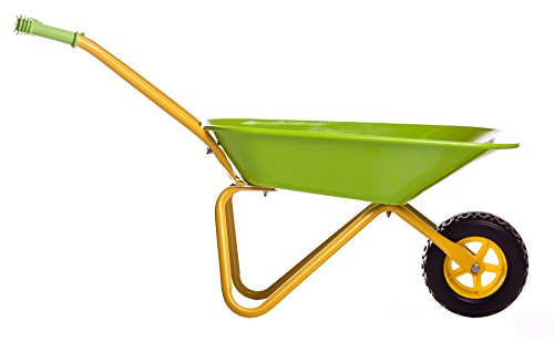 Childrens-Green-Metal-Wheelbarrow-Tools-KneePad-0-2