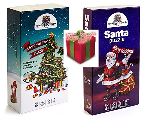 Christmas-Floor-Jigsaw-Puzzle-Bundle-for-Kids-Ages-4-8-Large-Santa-and-Large-Christmas-Tree-Puzzle-W29pc-Ornaments-Decoration-kit-Free-Gift-Spill-Resistant-Bubble-Tumbler-0