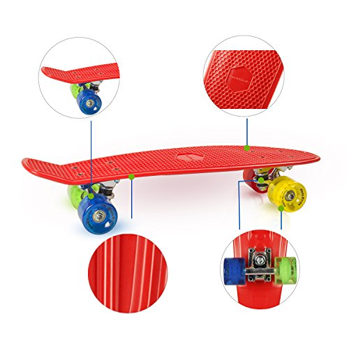 Complete-Skateboards-RockBirds-22-Plastic-Cruiser-Skateboard-High-Speed-for-Kids-Boys-Youths-Beginners-Red-0-1