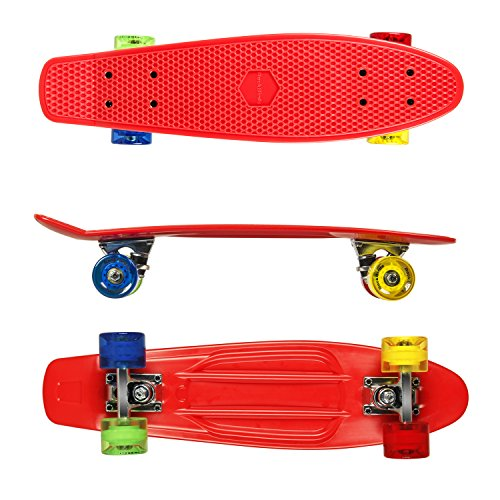 Complete-Skateboards-RockBirds-22-Plastic-Cruiser-Skateboard-High-Speed-for-Kids-Boys-Youths-Beginners-Red-0