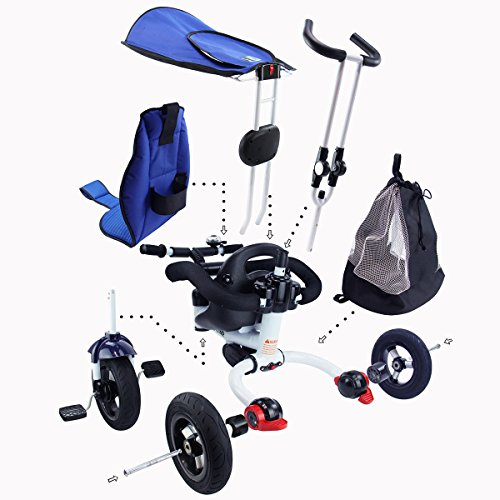 Costzon-4-In-1-Baby-Tricycle-Detachable-Learning-Bike-w-Canopy-Bag-Kids-Steer-Stroller-0-1