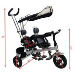 Costzon-4-In-1-Dual-Twins-Kids-Trike-Baby-Toddler-Tricycle-Safety-Double-Rotatable-Seat-w-Basket-Black-0-0