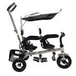 Costzon-4-In-1-Dual-Twins-Kids-Trike-Baby-Toddler-Tricycle-Safety-Double-Rotatable-Seat-w-Basket-Black-0-1