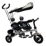 Costzon-4-In-1-Dual-Twins-Kids-Trike-Baby-Toddler-Tricycle-Safety-Double-Rotatable-Seat-w-Basket-Black-0