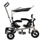 Costzon-4-In-1-Dual-Twins-Kids-Trike-Baby-Toddler-Tricycle-Safety-Double-Rotatable-Seat-w-Basket-Black-0-2