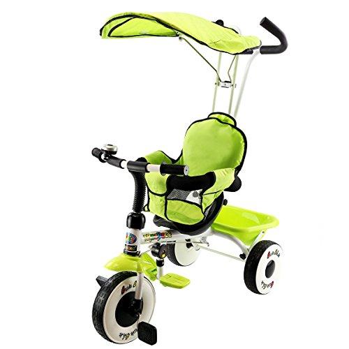 Costzon-4-In-1-Kids-Steer-Tricycle-Stroller-Bike-w-Canopy-Basket-0