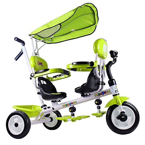 Costzon-4-In-1-Twins-Kids-Trike-Baby-Toddler-Tricycle-Safety-Double-Rotatable-Seat-w-Basket-0-0