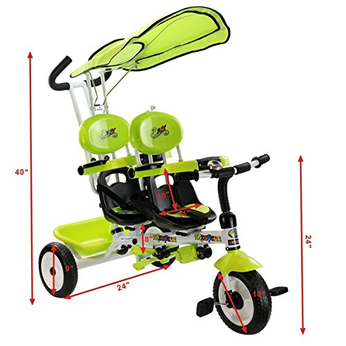 Costzon-4-In-1-Twins-Kids-Trike-Baby-Toddler-Tricycle-Safety-Double-Rotatable-Seat-w-Basket-0-2