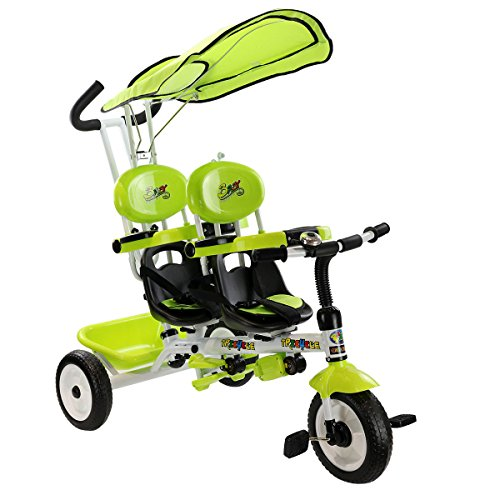 Costzon-4-In-1-Twins-Kids-Trike-Baby-Toddler-Tricycle-Safety-Double-Rotatable-Seat-w-Basket-0