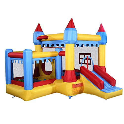 Costzon-Inflatable-Bounce-House-Castle-Commercial-Kids-Jumper-Moonwalk-With-Ball-Without-Blower-0