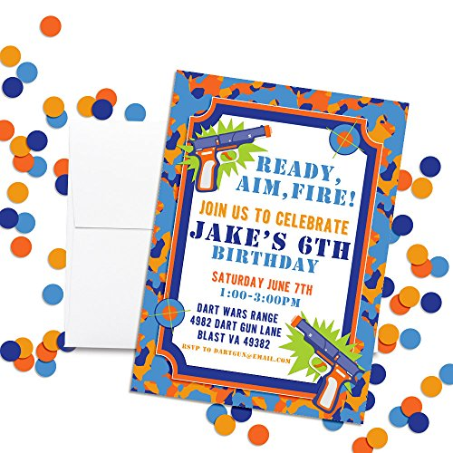 Dart Gun Themed Custom Personalized Birthday Party Invitations For Boys Twenty 5x7 Cards With 20 White Envelopes By AmandaCreation