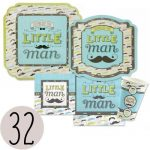 Dashing-Little-Man-Mustache-Party-Tableware-Plates-Cups-Napkins-Bundle-for-32-0
