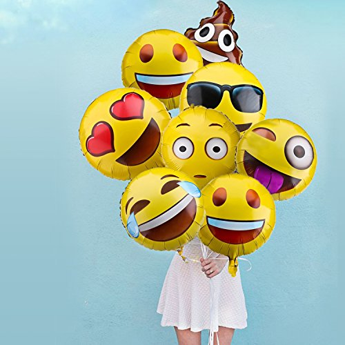 Emoji Balloons For Party Decorations 32 Pack Helium Mylar Foil Kids Birthday Supplies Favors Novelty Wedding Events