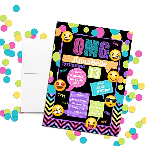 Emoji Texting Custom Personalized Birthday Party Invitations Twenty