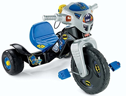 Fisher-Price-DC-Super-Friends-Batman-Lights-And-Sounds-Trike-Childrens-Tricycle-Walkie-Talkie-Plays-Back-Recorded-Messages-3-Position-Adjustable-Seat-0