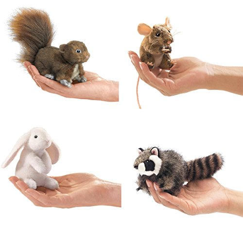 Folkmanis-Mini-Woodland-Creatures-Finger-Puppets-Bundle-Red-Squirrel-Field-Mouse-Raccoon-Lop-Earred-Rabbit-0