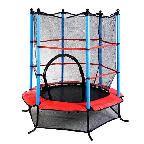 "Zupapa Round 14ft Trampoline Frame Safety Enclosure Spring: Giantex 55"" Round Kids Mini Jumping Trampoline W/ Safety"