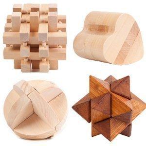Large Wooden 3D Puzzle 4-Pack Mental Brainteaser #2