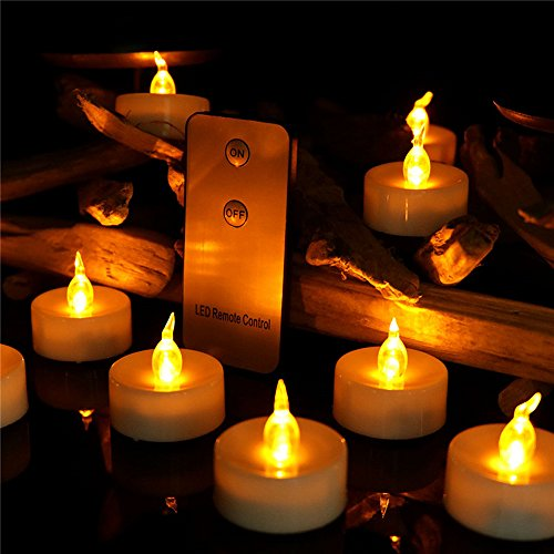 Led Flameless Candle With Remote Control Yellow Flickering