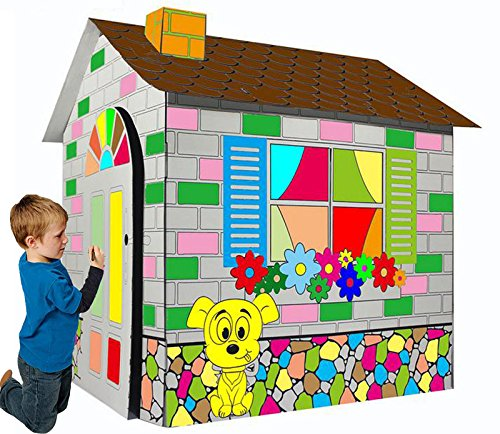 Littlefun-Kids-Foldable-Playhouse-Kit-Child-Premium-Paper-Construction-Markers-Included-0-0