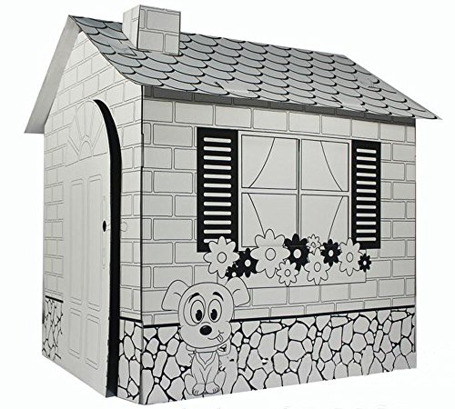 Littlefun-Kids-Foldable-Playhouse-Kit-Child-Premium-Paper-Construction-Markers-Included-0-1