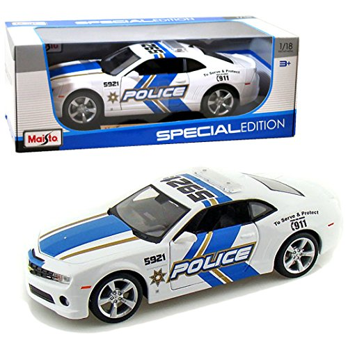 Maisto-Special-Edition-Series-118-Scale-Die-Cast-Car-White-Blue-Police-Cruiser-2010-CHEVROLET-CAMARO-SS-RS-with-Base-Car-Dimension10-x-4-x-3-0