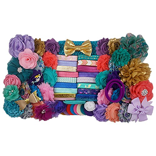 Mermaid-Life-Teal-Purple-Pink-Gold-Large-DIY-Headband-Kit-38-Headbands-2-Hair-Clips-Baby-Shower-Headband-Station-Fashion-Headbands-for-Birthday-Party-Baby-Shower-Games-0