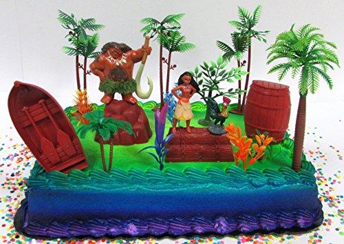 MOANA Birthday Cake Topper Set Featuring Various Walmart Moana Tropical Themed