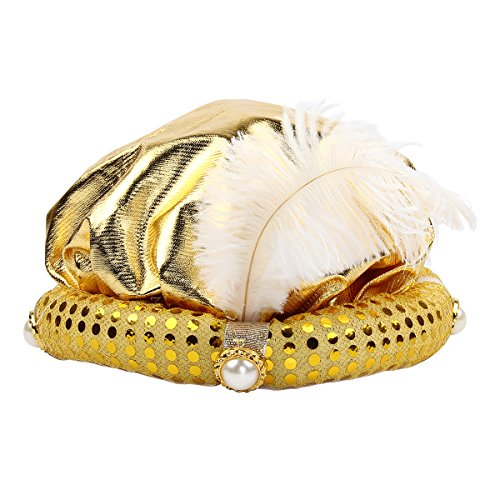 Mochiglory-Gold-Gypsy-Fortune-Teller-Arabian-Hat-Feather-Plume-Hats-Costume-Set-Party-Decor-0