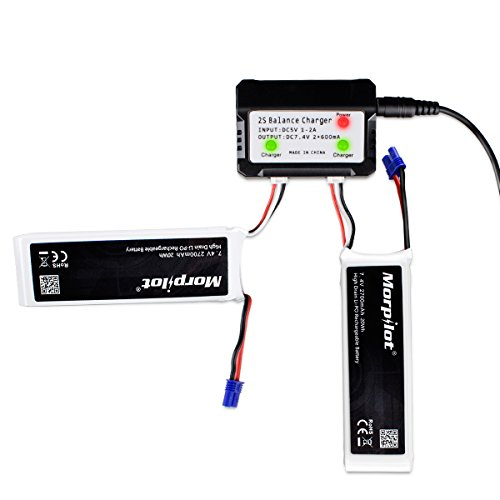 Morpilot-For-Hubsan-x4-Pro-H501S-Pro-H501A-H501C-2S-2700mAh-74V-10C-20Wh-RC-Drone-LiPo-Battery-with-2-port-Charger-High-Performance-with-Charging-Protection-Genuine-Parts-Guarrantee-Extra-Flight-Time-0-0