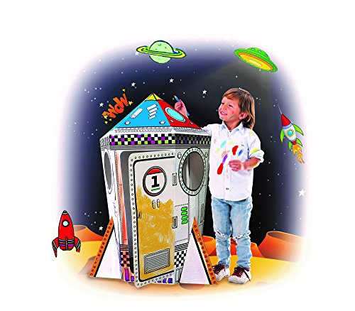 My Mini Rocket Ship Cardboard Playhouse For Kids To Color