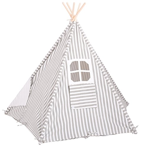 NEW-Large-5-Wall-Kids-Teepee-Gray-Striped-100-Natural-Cotton-Canvas-Includes-Carry-Bag-Window-and-Floor-Mat-Hours-of-Play-Pretend-Fun-by-Imagitiva-0-2