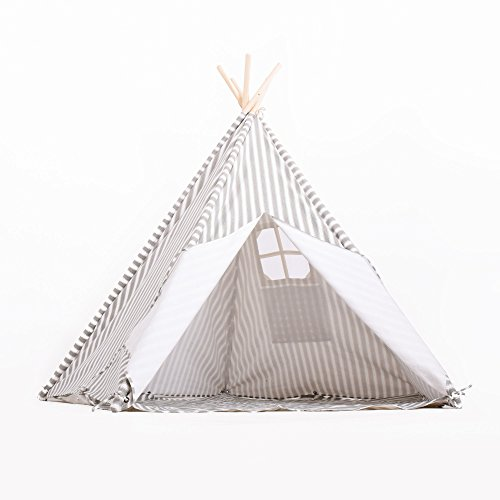 NEW-Large-5-Wall-Kids-Teepee-Gray-Striped-100-Natural-Cotton-Canvas-Includes-Carry-Bag-Window-and-Floor-Mat-Hours-of-Play-Pretend-Fun-by-Imagitiva-0