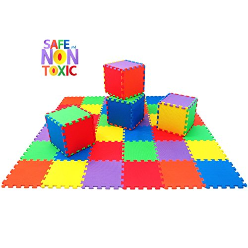 Gym Mats Non Toxic: NON-TOXIC Extra-Thick 36 Piece Children Play & Exercise