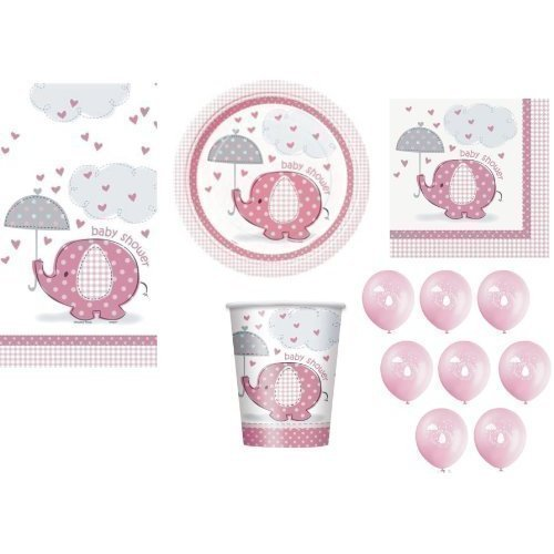PINK-FOR-GIRL-BABY-SHOWER-PARTY-TABLEWARE-PACK-UMBRELLAPHANTS-DESIGN-NAPKINS-PLATES-CUPS-TABLECOVER-BALLOONS-57-ITEMS-by-Umbrellaphants-0