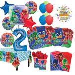 PJ-Masks-2nd-Birthday-Party-Supplies-8-Guest-Kit-and-Balloon-Bouquet-Decorations-0