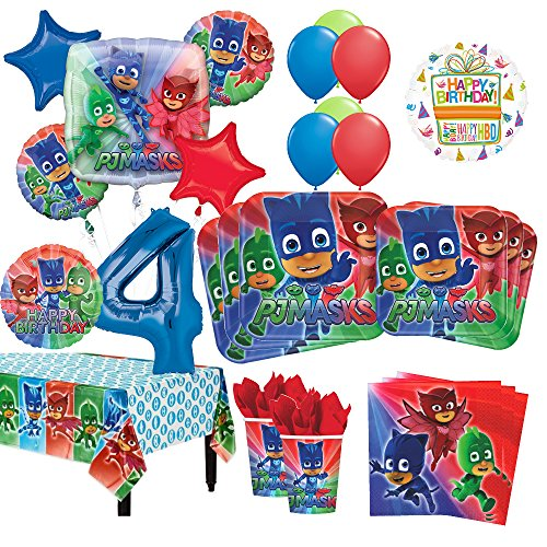 PJ Masks 4th Birthday Party Supplies 8 Guest Kit And Balloon Bouquet Decorations