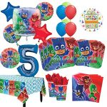 PJ-Masks-5th-Birthday-Party-Supplies-8-Guest-Kit-and-Balloon-Bouquet-Decorations-0